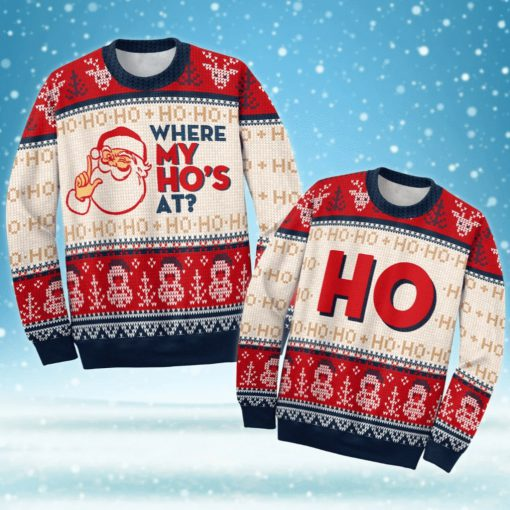 love couple santa claus where my hos at ugly christmas sweater 3