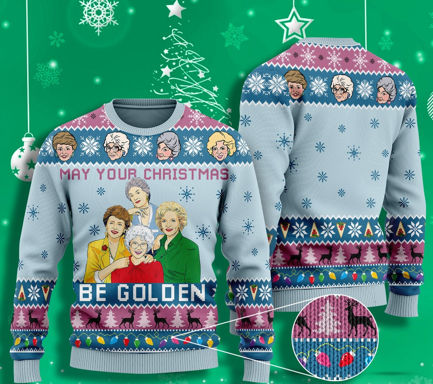 may your christmas be golden the golden girls ugly christmas sweater 2