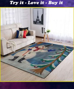merry christmas and frosty the snowman full printing rug