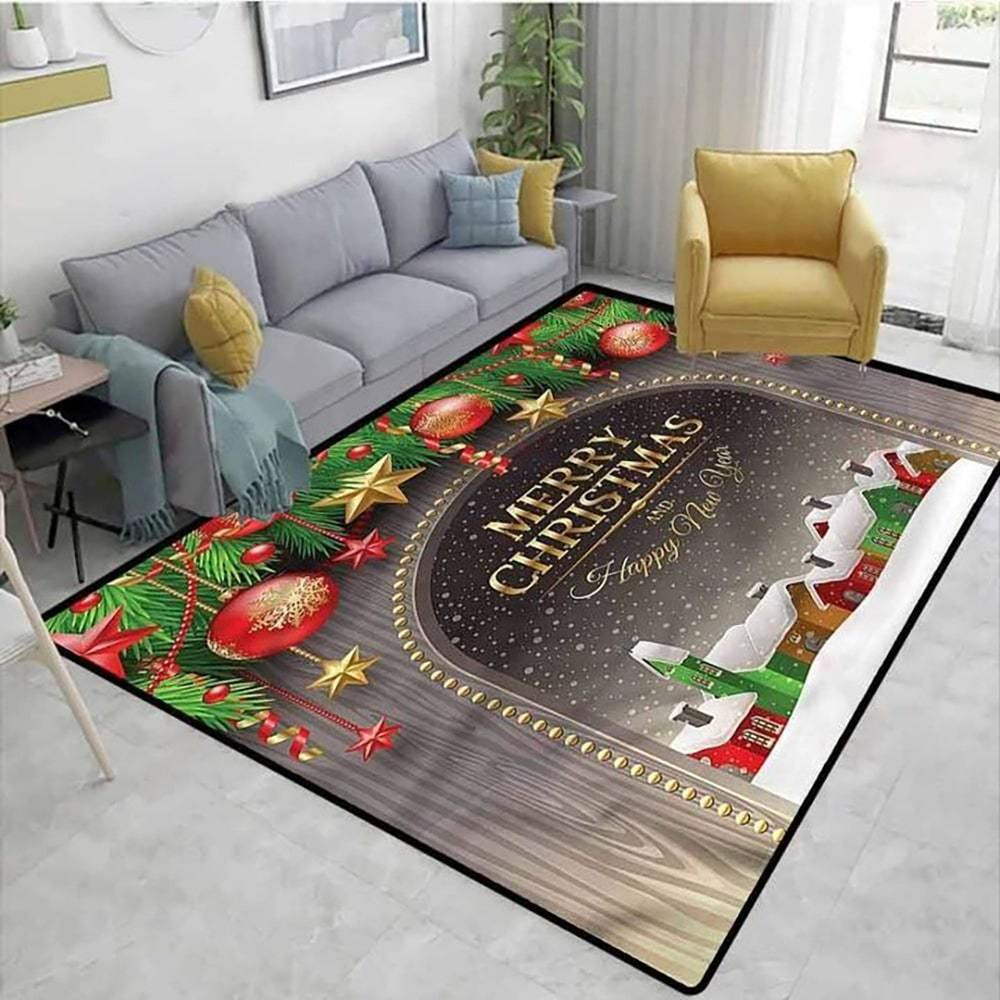 merry christmas and happy new year full printing rug 5