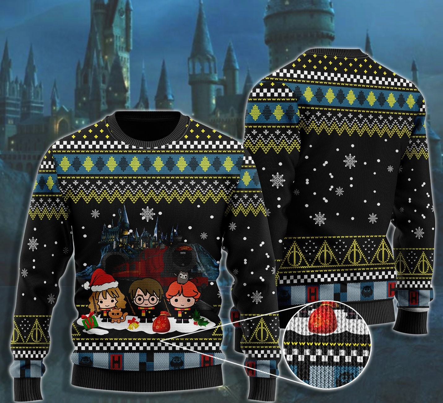 merry christmas with harry potter chibi ugly christmas sweater 2