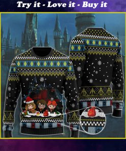 merry christmas with harry potter chibi ugly christmas sweater