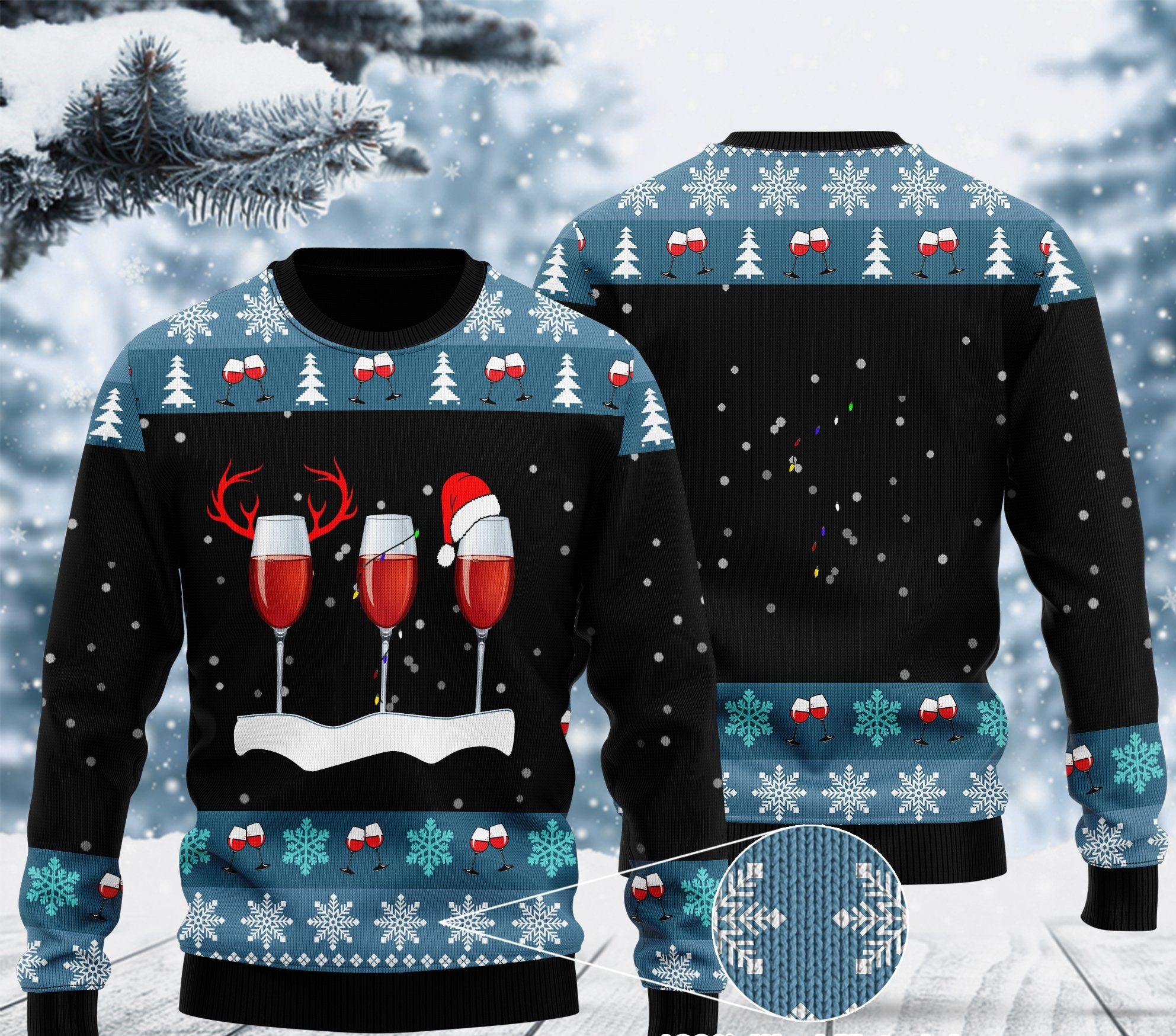 merry christmas with red wine ugly christmas sweater 2