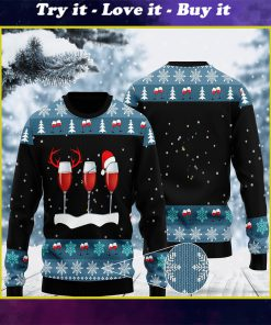 merry christmas with red wine ugly christmas sweater
