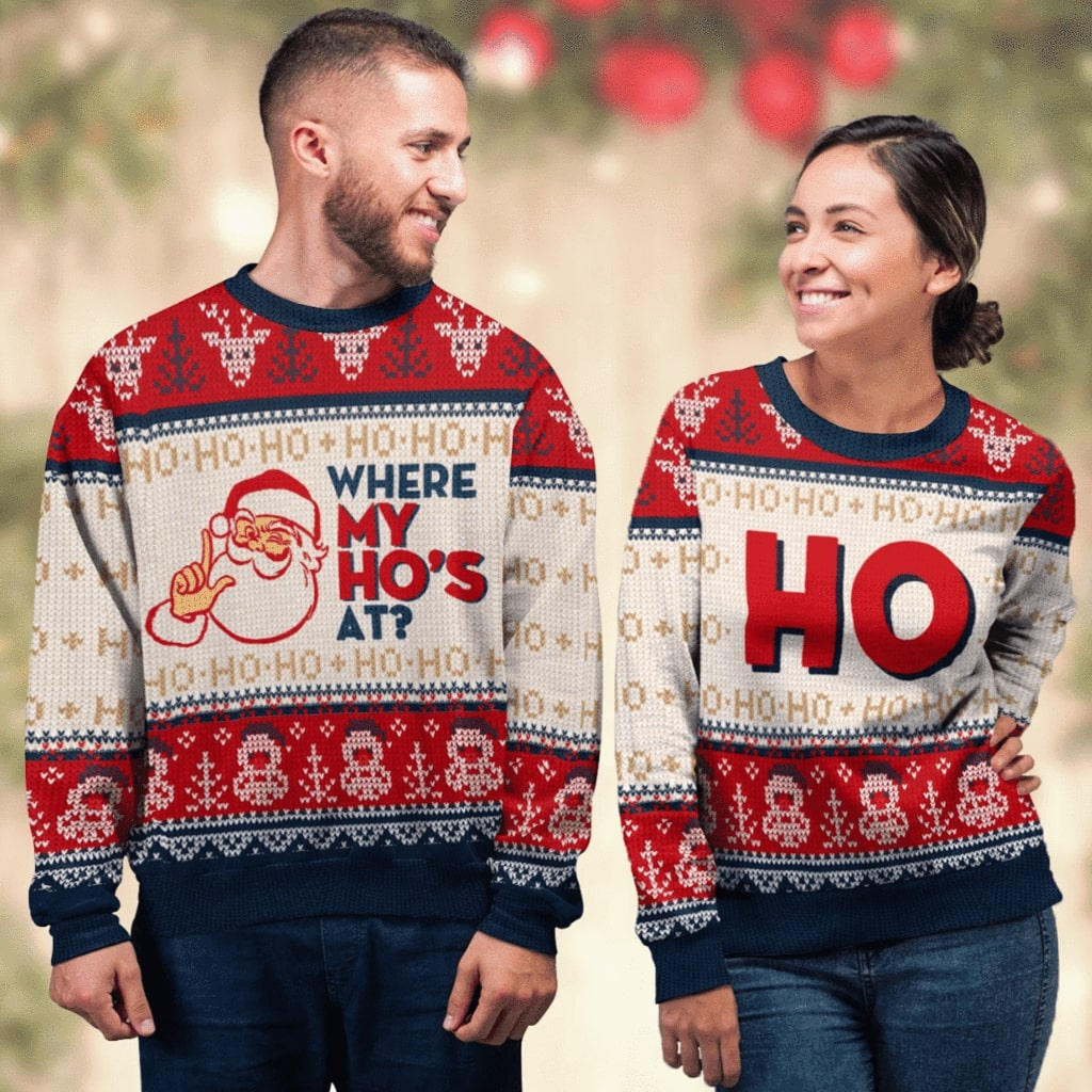 santa claus where my hos at couple ugly christmas sweater 2