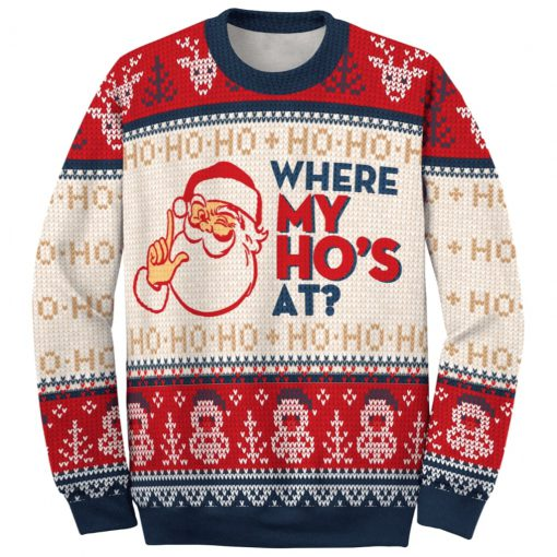 santa claus where my hos at couple ugly christmas sweater 3