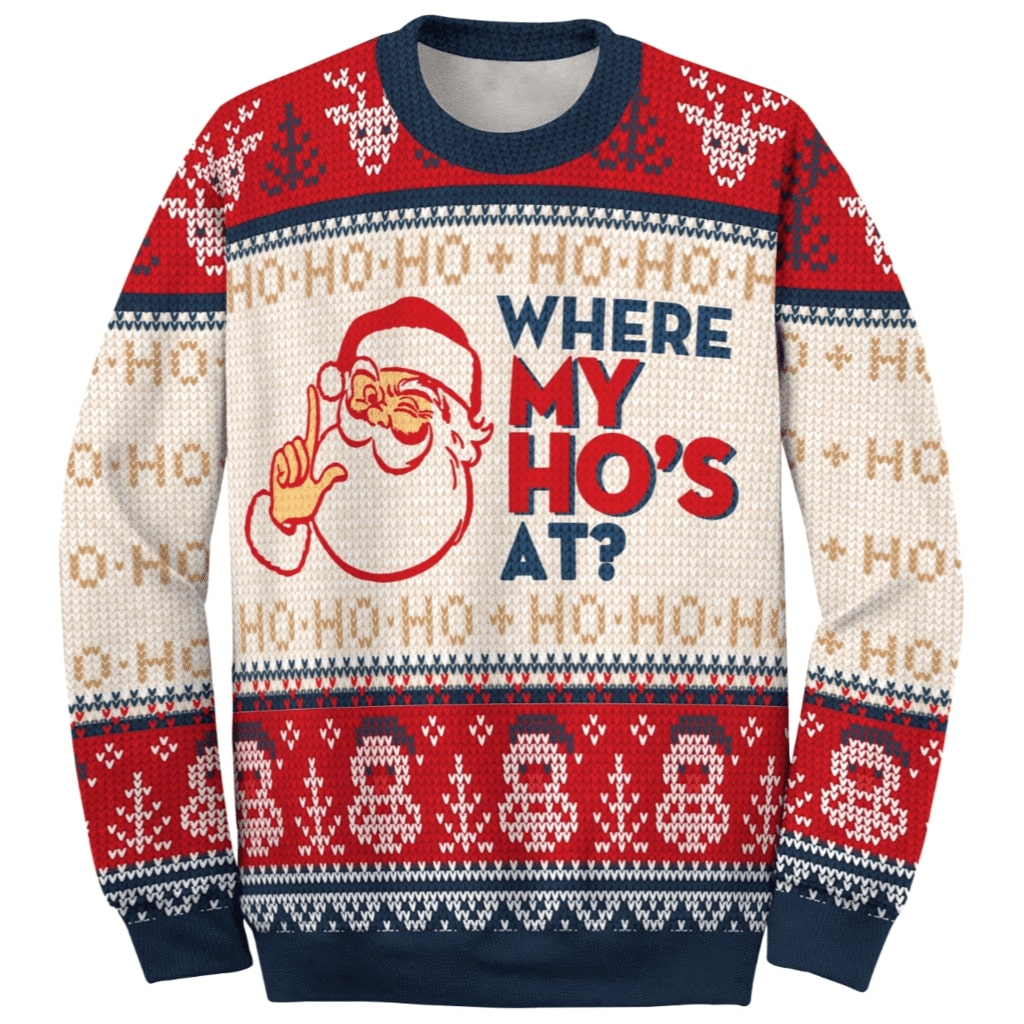 santa claus where my hos at couple ugly christmas sweater 4
