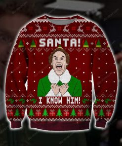 santa i know him all over printed ugly christmas sweater 3