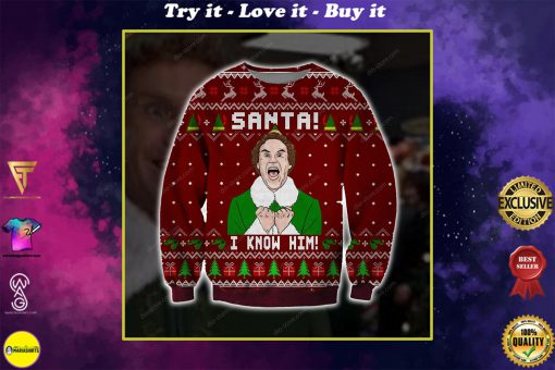 santa i know him all over printed ugly christmas sweater