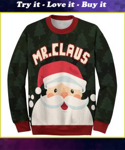 santa mr claus and mrs claus love couple ugly christmas sweater