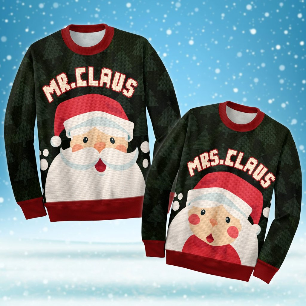 santa mr claus and mrs claus love couple ugly christmas sweater 4