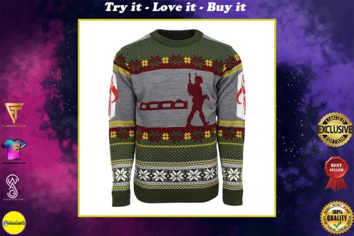 star wars boba fett nordic all over printed ugly christmas sweater
