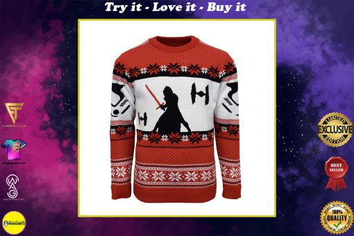 star wars kylo ren all over printed ugly christmas sweater