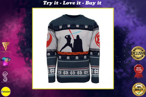 star wars luke vs darth vader all over printed ugly christmas sweater