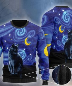 starry night vincent van gogh cat ugly christmas sweater 2 - Copy