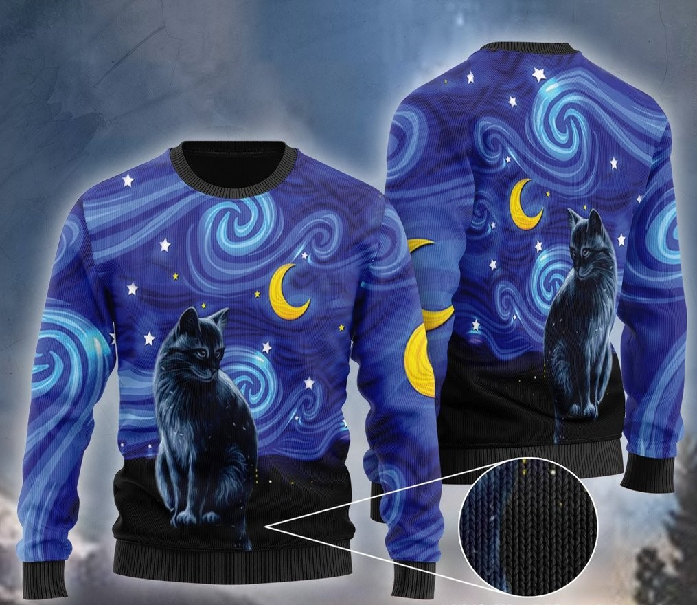 starry night vincent van gogh cat ugly christmas sweater 2