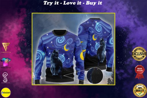 starry night vincent van gogh cat ugly christmas sweater