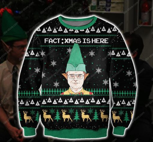 the office dwight fact xmas is here all over printed ugly christmas sweater 2