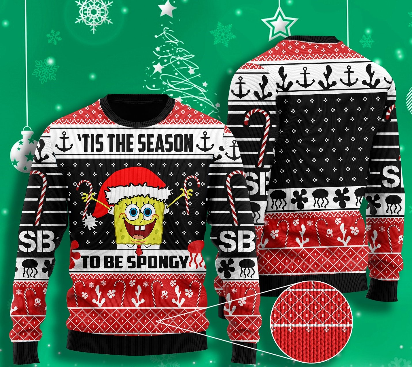 til the season to be spongy spongebob all over printed ugly christmas sweater 2