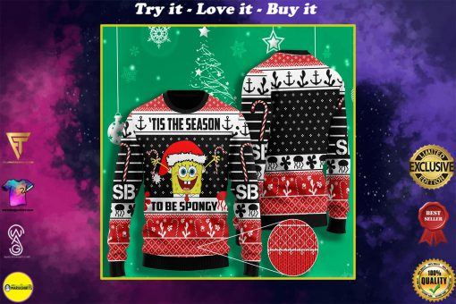 til the season to be spongy spongebob all over printed ugly christmas sweater