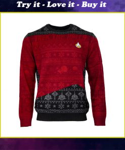 trek the halls all over printed ugly christmas sweater
