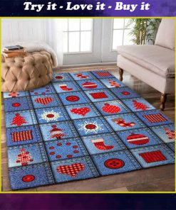 vintage holiday time christmas pattern full printing rug