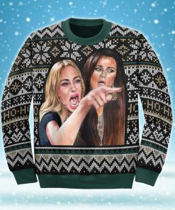 woman yelling at a cat all over printed ugly christmas sweater 3