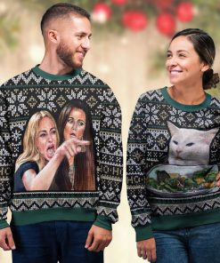 woman yelling at a cat all over printed ugly christmas sweater 5