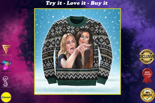 woman yelling at a cat all over printed ugly christmas sweater