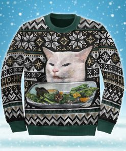 woman yelling at a cat couple shirt ugly christmas sweater 2