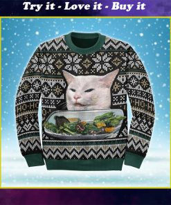 woman yelling at a cat couple shirt ugly christmas sweater
