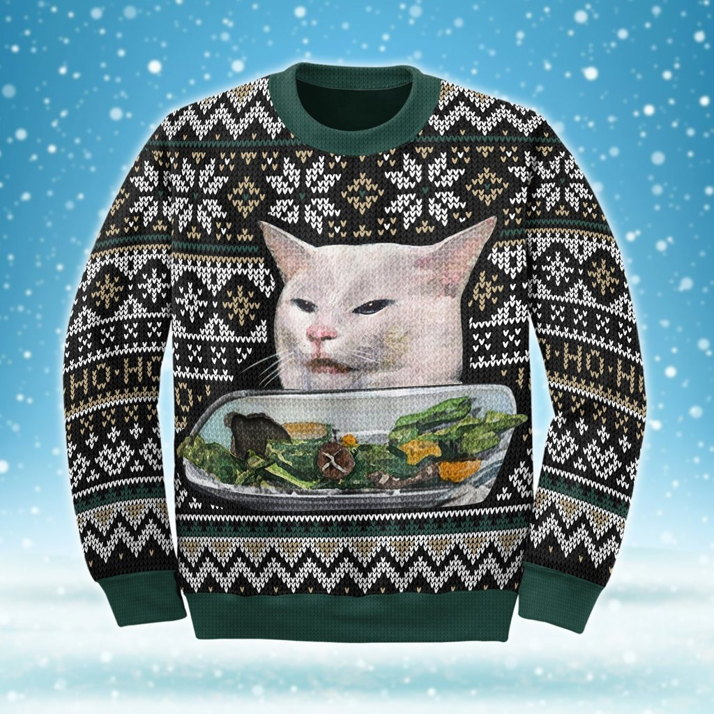woman yelling at a cat couple shirt ugly christmas sweater 3