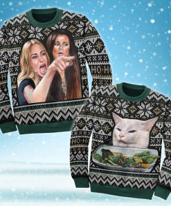 woman yelling at a cat couple shirt ugly christmas sweater 5