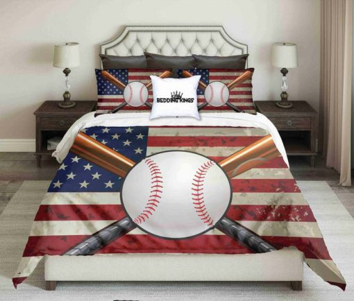 american flag and baseball all over printed bedding set 3