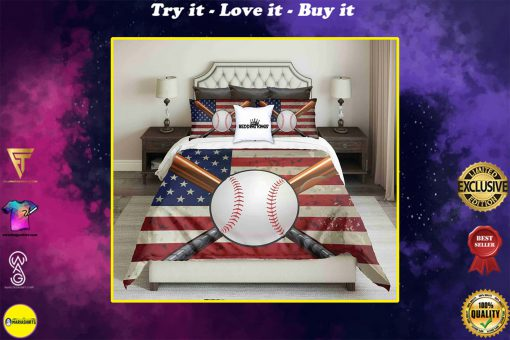american flag and baseball all over printed bedding set