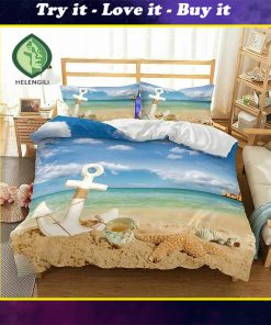 anchor starfish beach all over printed bedding set