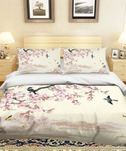 apricot flower and bird all over printed bedding set 2