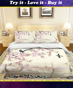 apricot flower and bird all over printed bedding set