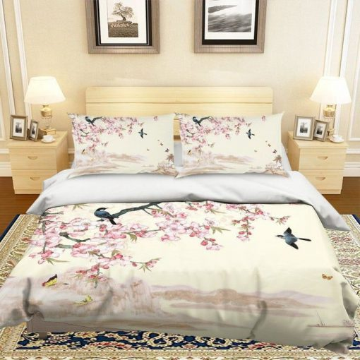 apricot flower and bird all over printed bedding set 4