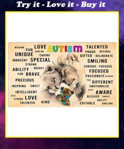 autism awareness lion love unique talented love brave fun poster