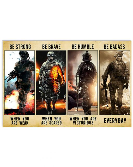 be strong be brave be humble be badass marine veteran poster 2