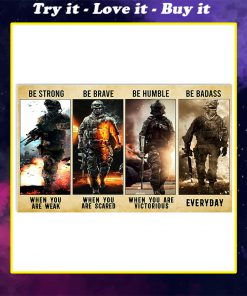 be strong be brave be humble be badass marine veteran poster