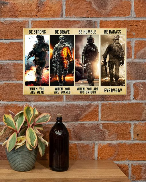 be strong be brave be humble be badass marine veteran poster 4