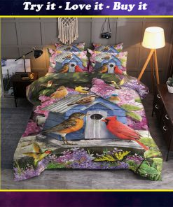 birdhouse and flower all over printed bedding set