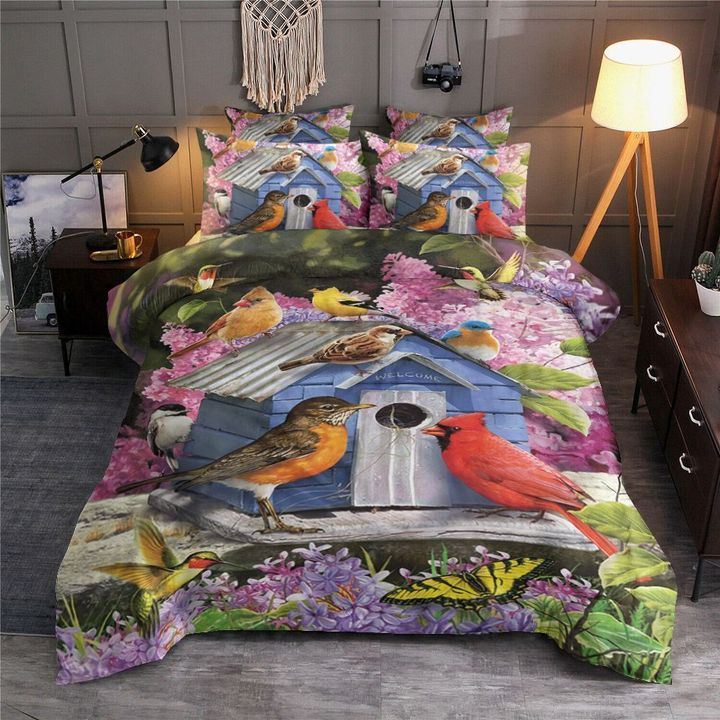 birdhouse and flower all over printed bedding set 3