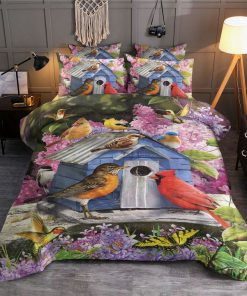 birdhouse and flower all over printed bedding set 4