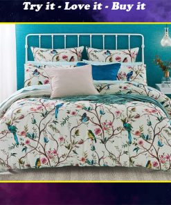 birds on the tree all over printed bedding set