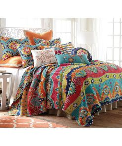 blue red geometric stripe all over printed bedding set 2