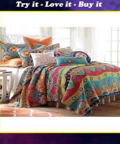 blue red geometric stripe all over printed bedding set