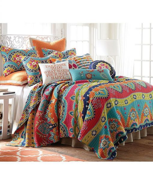 blue red geometric stripe all over printed bedding set 5